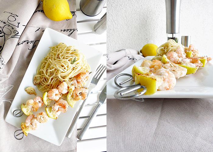 Zitronen-Garnelen Spieße auf Spaghetti