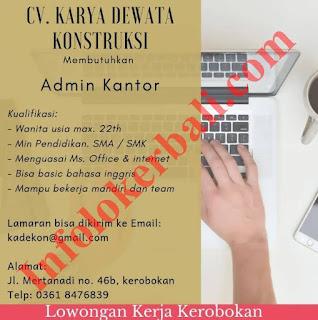 Info Loker Terbaru CV. Karya Dewata Konstruksi Juni 2019