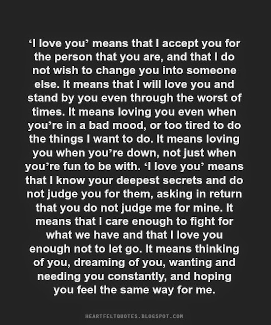 I Love You Means That I Accept You For The Person That You Are