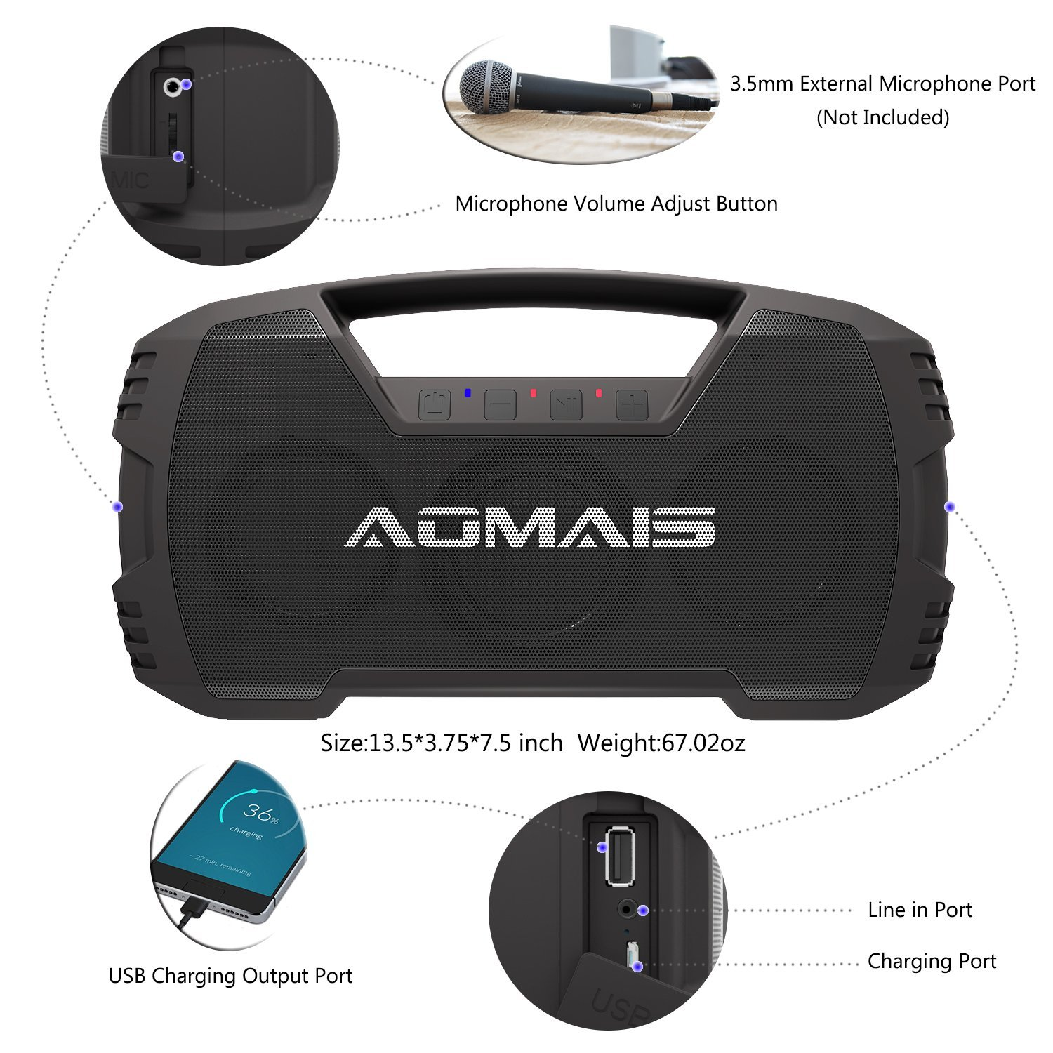 Aomais Go Portable Ipx7 Waterproof Bluetooth Speaker
