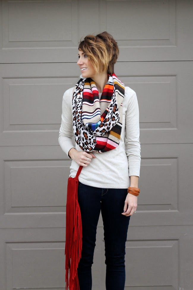 Serape scarf, fringe purse and dark denim with a basic tee