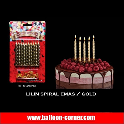 Lilin Spiral Warna Emas / Gold