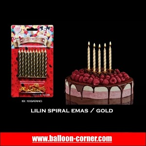 Lilin Spiral Warna Emas / Gold