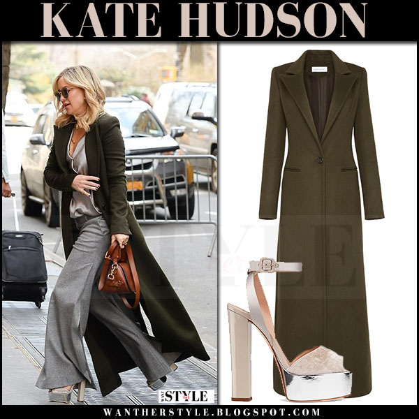 Kate Hudson in long green coat marina moscone and platform sandals giuseppe zanotti velvet what she wore march 2017
