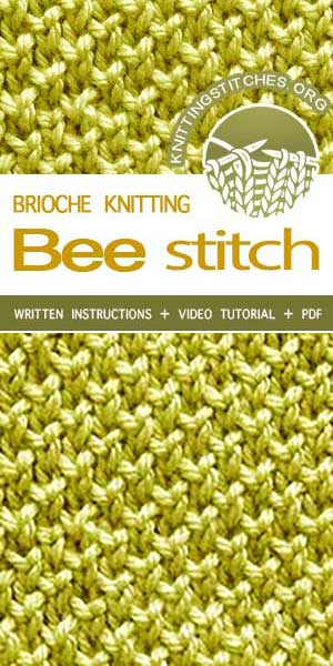 KnittingStitches.org -- Knitting Patterns Free, knit Bee Stitch. #knit #knittingpattern #KnittingStitches