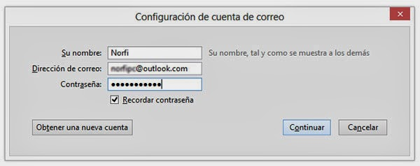 Configura Outlook.com en Thunderbird