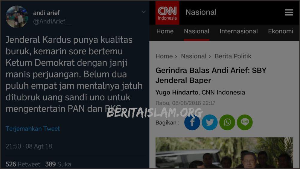 Politik Saling Sikut! Prabowo Disebut Jendera Kardus, Gerindra: SBY Jenderal Baper