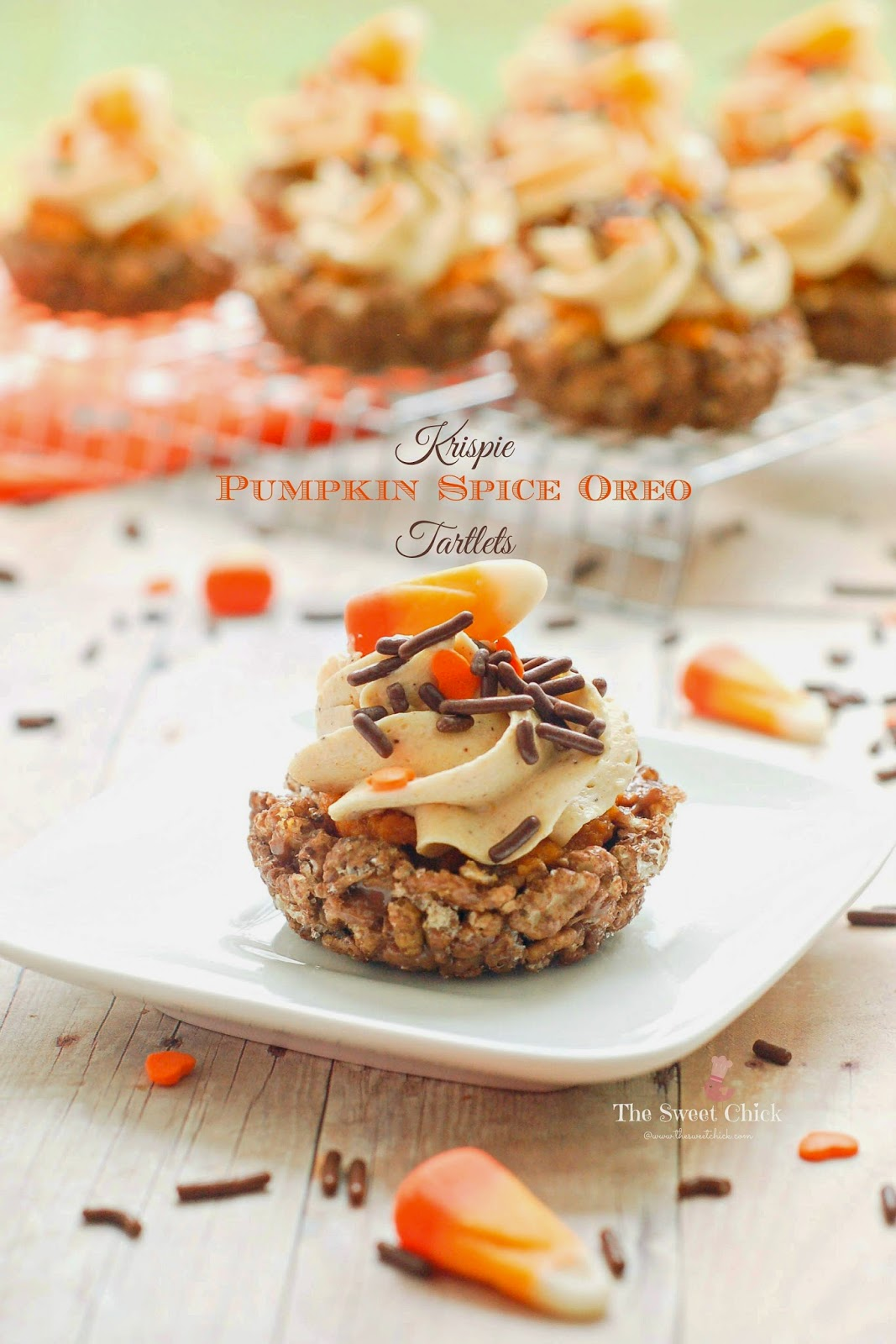 Krispie Pumpkin Spice Oreo Tartlets by The Sweet Chick