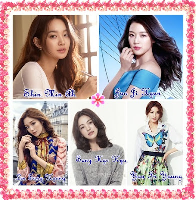 My Best Actress - Shin Min Ah, Jun Ji Hyun, Lee Sung Kyung, Song Hye Kyo, Yoo In Young, 5 pelakon wanita korea kegemaranku,
