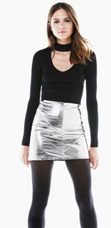 Falda mini de charol plateada para navidad 2017