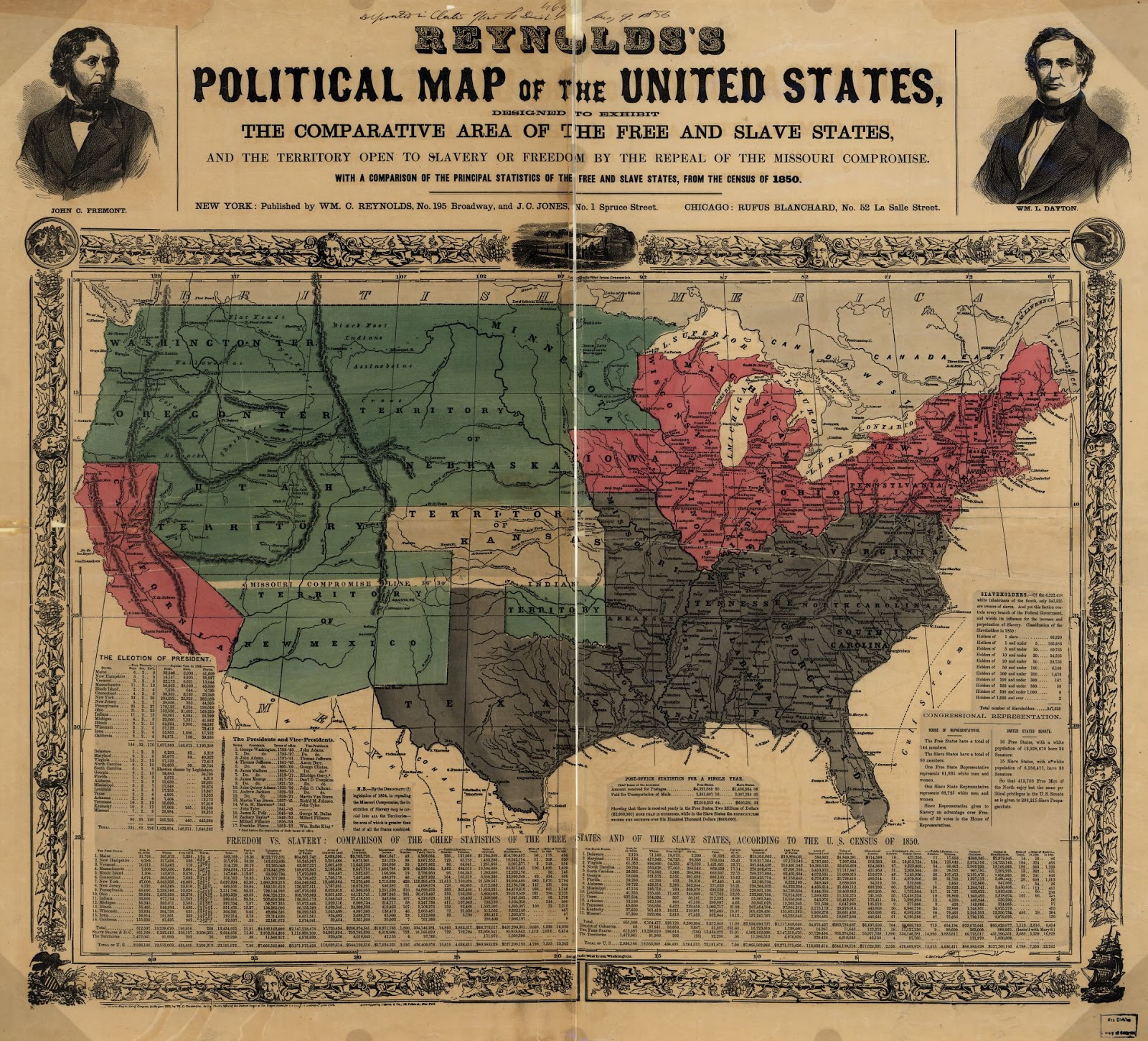 Political map of the United States (1850)