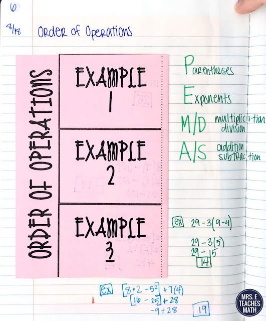 These order of operations tips give me lots of ideas for teaching middle school (algebra) students.  I like the activities and foldable notes for interactive notebooks.  The mobile is better than a poster too.  Please excuse my dear aunt sally will be more fun this year!