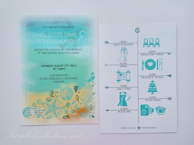 beach, wedding card, print, malaysia, kuala lumpur, penang, ipoh, perak, melaka, seremban, johor bahru, singapore, australia, sabah, sarawak, kuching, kota kinabalu, nsw, sydney, adelaide, melbourne, chinese, western, modern, bespoke, simple, colourful, watercolour, seashells, sea horse, star fish, lone pine hotel, program ceremony, ROM, marriage, tie the knot, stationery, art card, textured, material, envelope, design, custom made, personalised, personalized, elegant, unique, special, one of its kind, colourful, designer, online, order, express