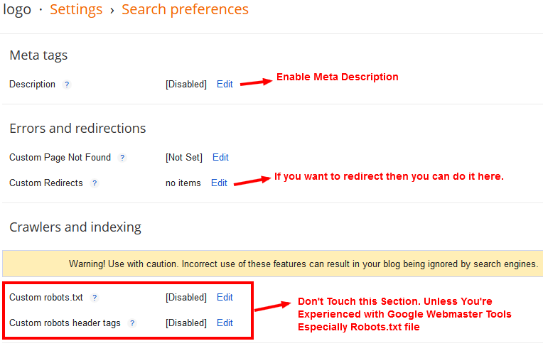 Create a Blog on Blogger - Enable Meta Description for Home Page and Posts Pages - Step-7