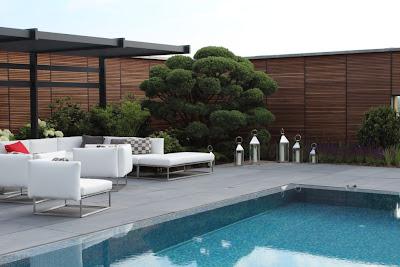 Sichtschutz für den Pool aus Sichtschutzelementen - Bangkirai mit Metallrückwand - Fa. FMH