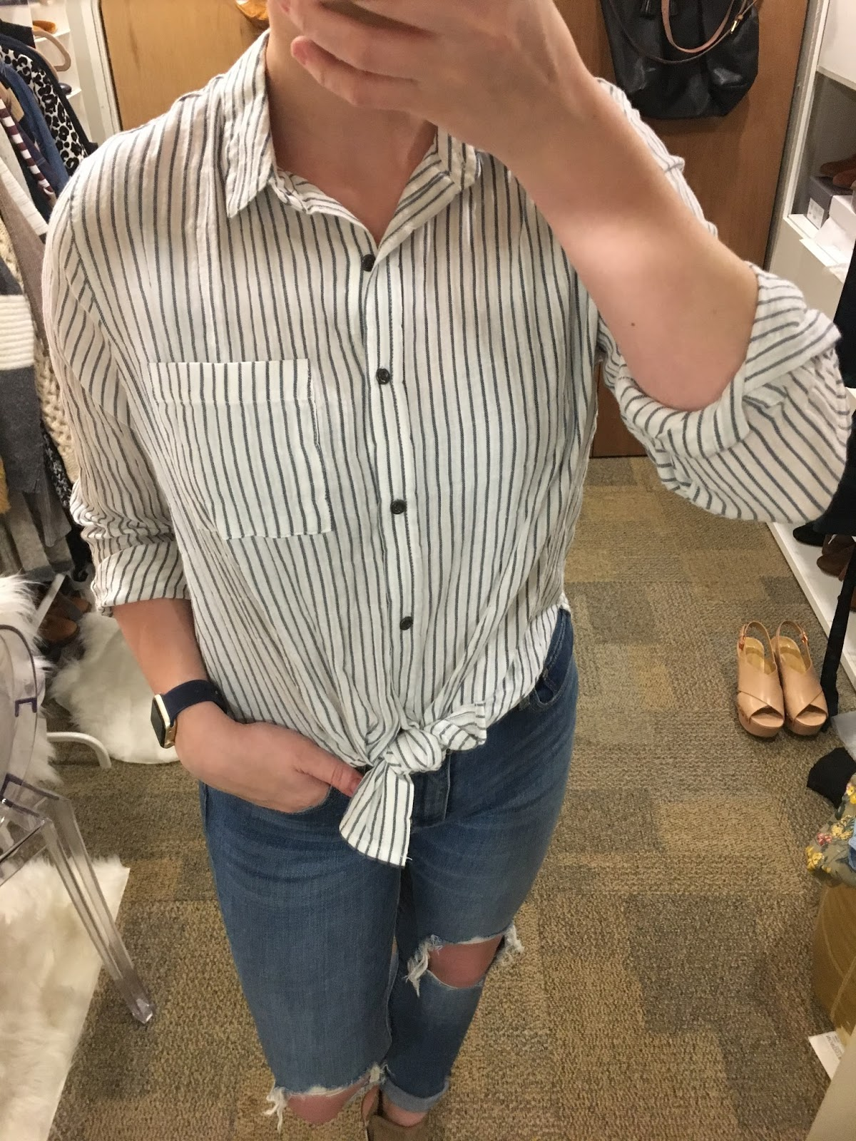 730887d569ad1c Shoes: 9.5 is my true size, but a size 10 fits the better in boots. Item: Universal  Thread Women's Tie Front Striped Long Sleeve Button Down Shirt ...