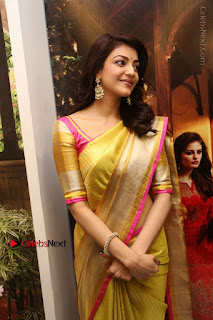 Actress Kajal Agarwal Stills in Golden Silk Saree at Trisha Sesigner Store Launch  0057.jpg