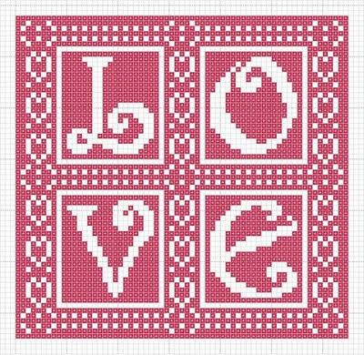 risco ponto-cruz LOVE