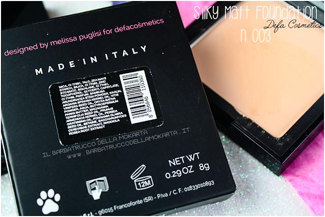 003 Silky Matt Foundations Defa Cosmetics Fondotinta vegan  inci