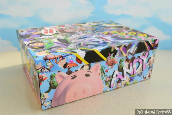 side of shoe box with Toy Story Hamm pig face and Andy written alongside
