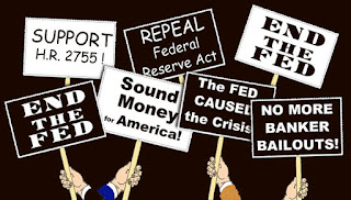 Illustration of hands with banners opposing the FED and its existence over a black background.