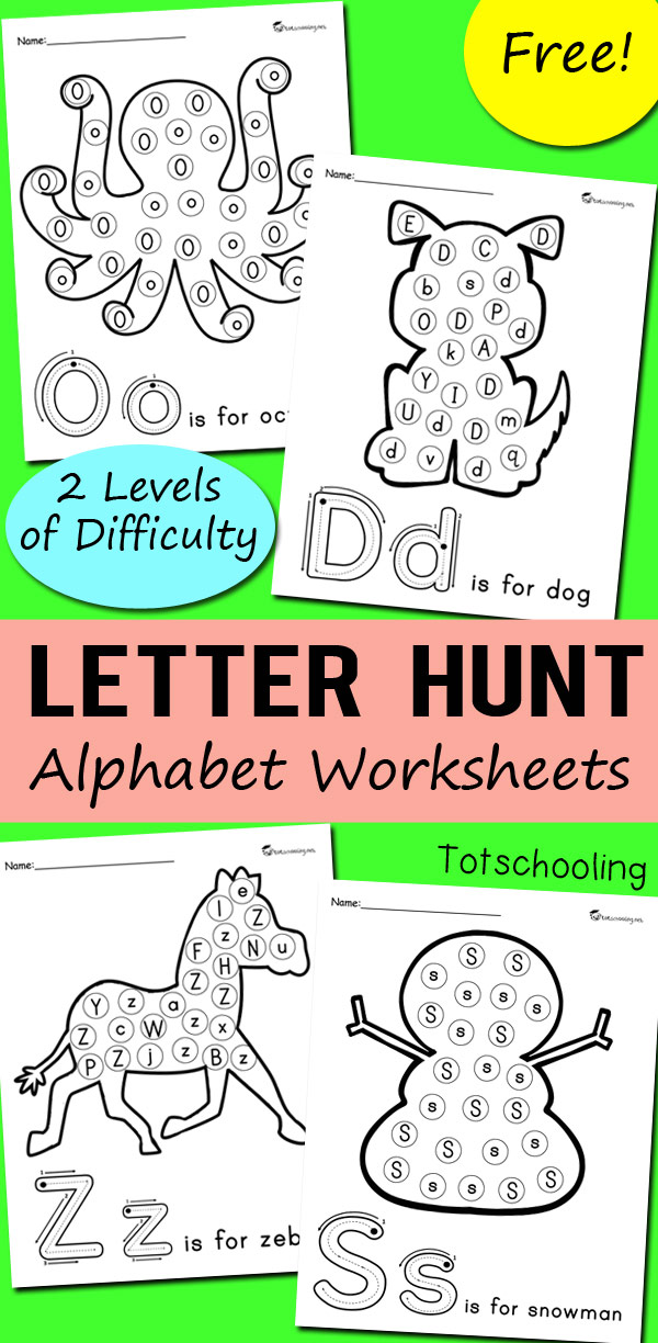 picture regarding Letter Printables known as Alphabet Letter Hunt Worksheets Totschooling - Newborn