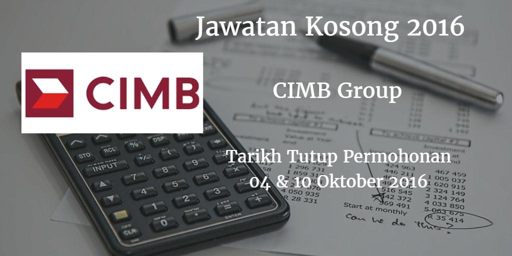 Jawatan Kosong CIMB Group 04 & 10 Oktober 2016