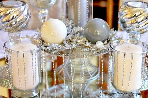 Silver Christmas Centerpiece using Ornaments at One More Time Events.com