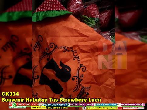 jual Souvenir Habutay Tas Strawbery Lucu