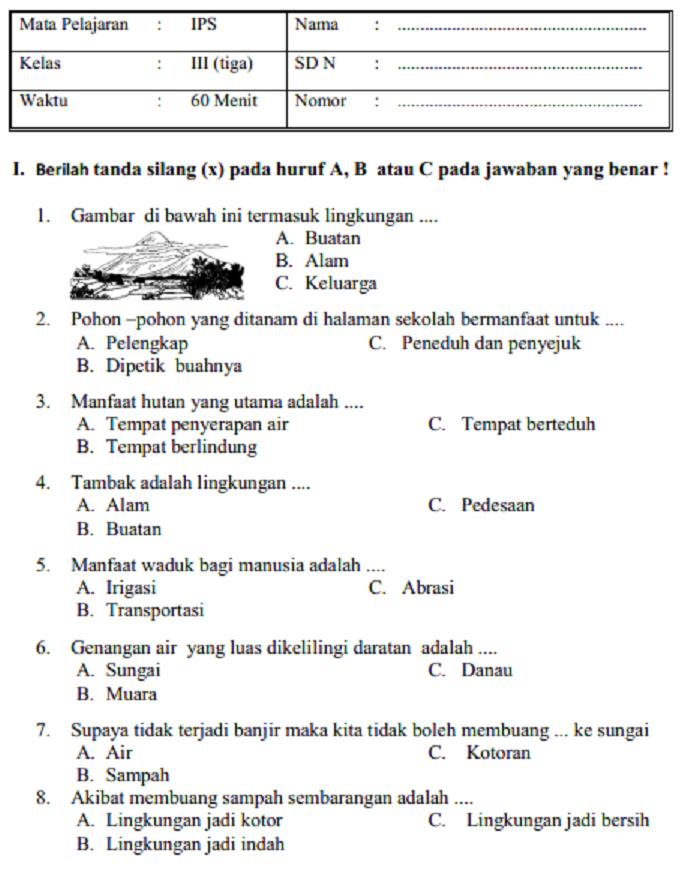 Latihan Soal Dan Jawaban Uas Ips Kelas 3 Sd Mi Semester 1