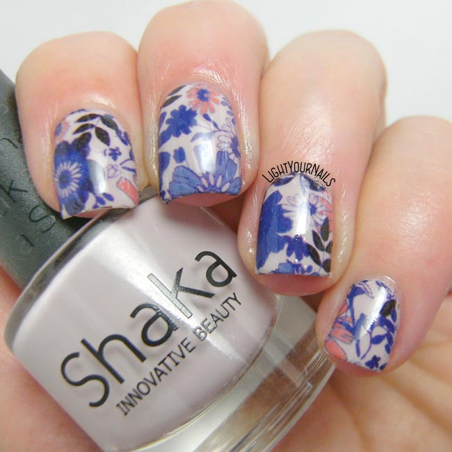 Blue and pink decals nail art