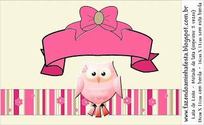 Coruja Rosa E Bege Kit Completo Com Molduras Para Convites