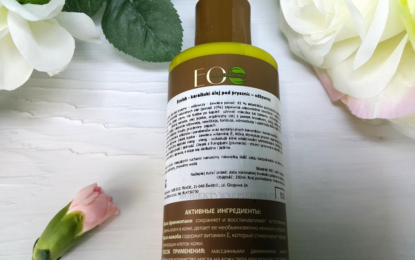Karaibski odżywczy olejek pod prysznic Ecolab działanie