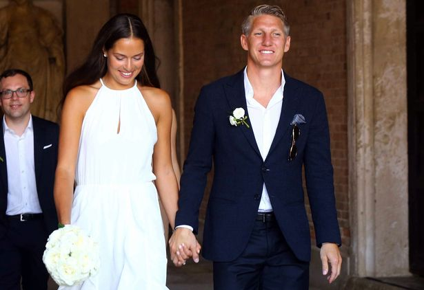 Schweinsteiger and Ivanovic emerged from the ceremony holding hands