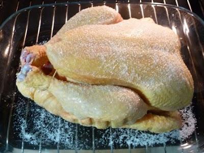 El pollo en la bandeja listo para asar.