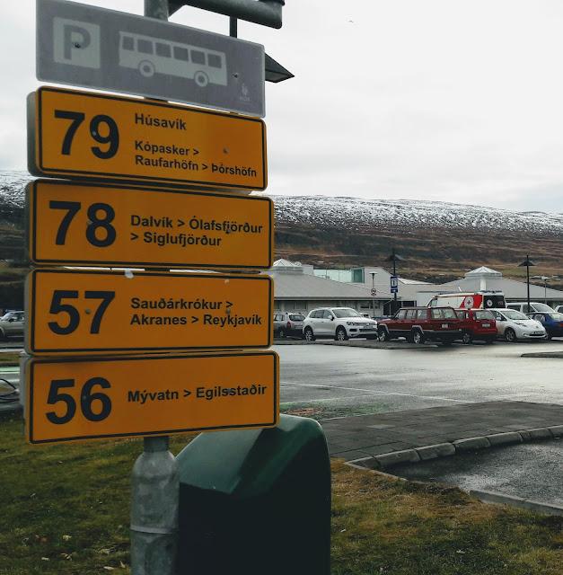 Travelling by bus from Reykjavik to Akureyri Iceland