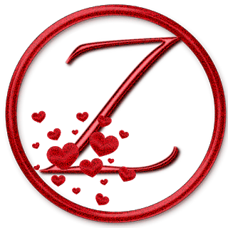 Abecedario Rojo con Corazones. Red Abc with Hearts.