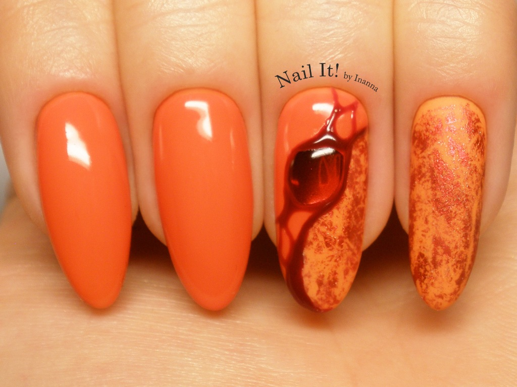 "Ruby Stone Nail Art - made with Indigo Nails ""Kamikaze"" and ""Sicilian Orange"" gel polishes"