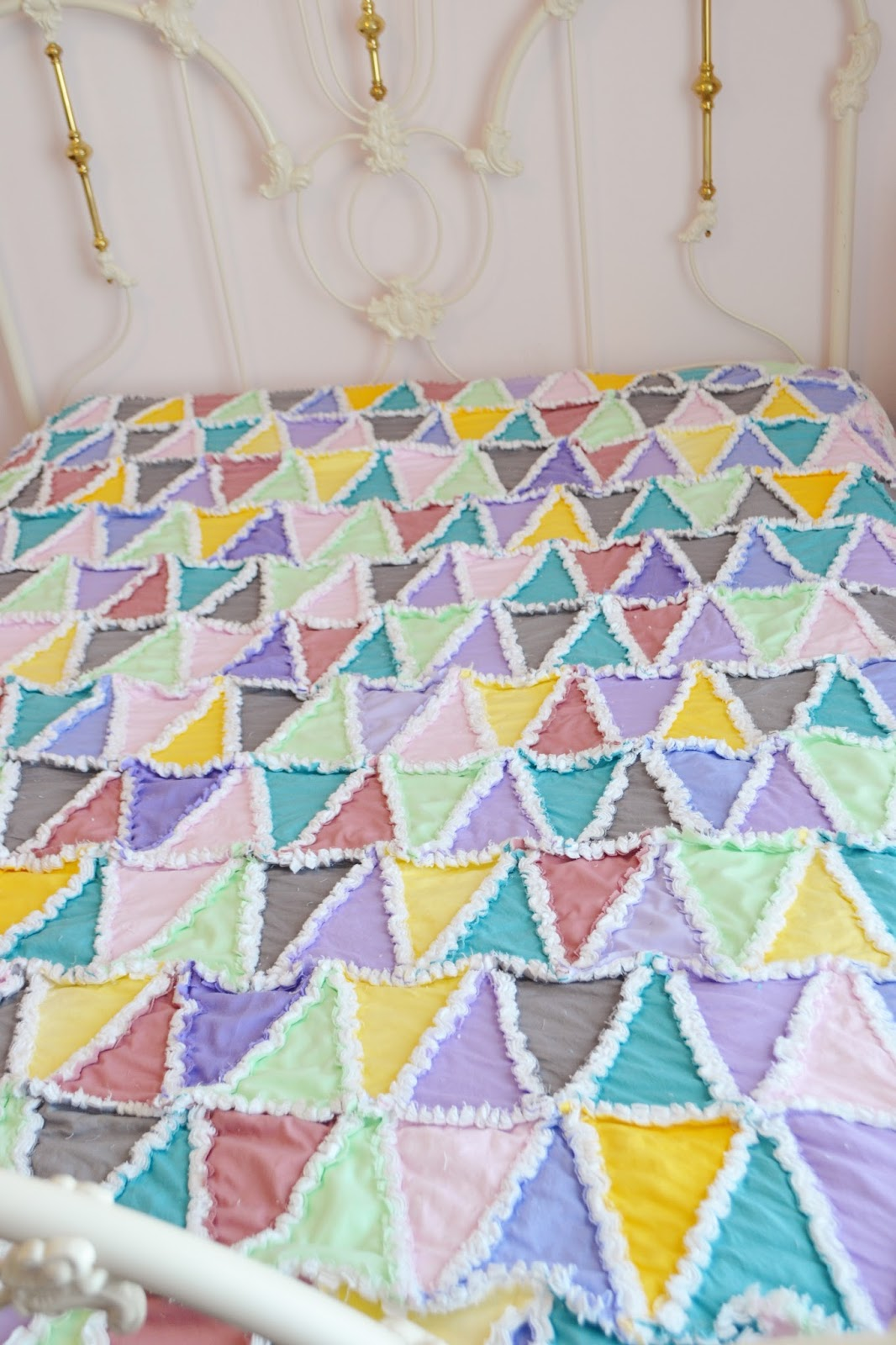 Pastel Triangle Rag Quilt In Pink Green Blue Purple