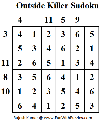Outside Killer Sudoku Solution