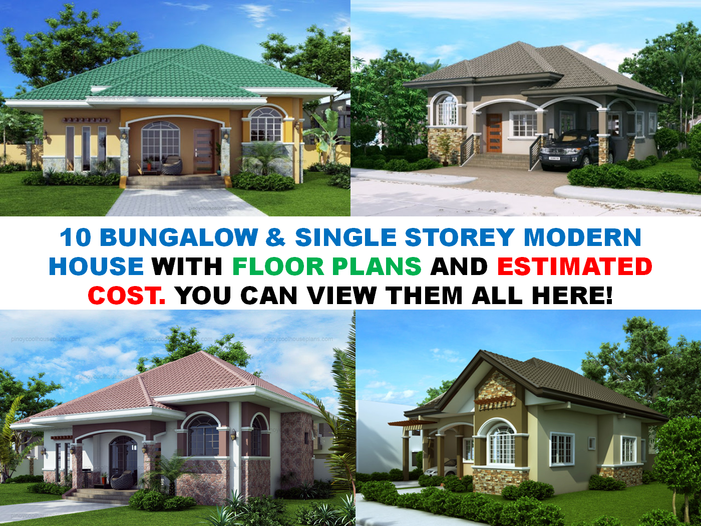 10 bungalow single story modern house with floor plans for Modern house cost