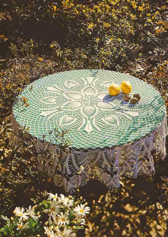 "Mantel Redondo ""Primavera"" a Crochet o Ganchillo"
