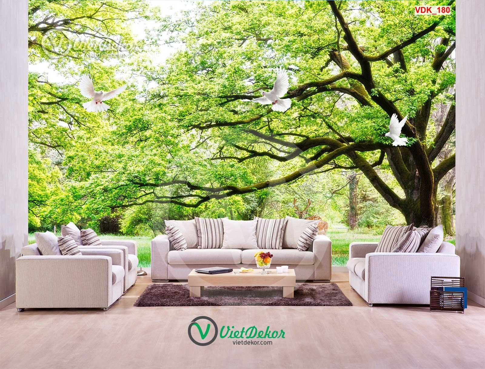 Tranh dán tường 3d rừng cây cò bay