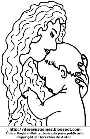 Imagen de una madre con su bebé para colorear pintar imprimir. Dibujo de una madre de Jesus Gómez
