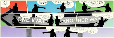 Comic strip panels containing silhouetted men and street signs.