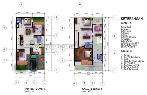 gambar denah rumah dan ukuran keterangan 3
