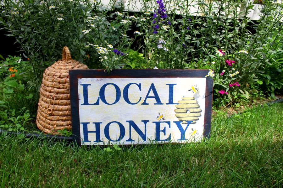 Local honey sign made with a few basic supplies.