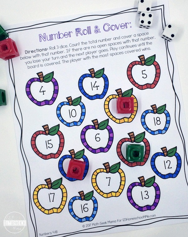 math worksheet : number sense roll and cover  5 math games : Kindergarten Math Game