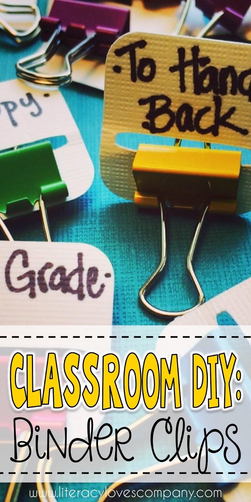 literacy loves company classroom diy binder clip tabs