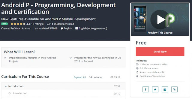[100% Free] Android P - Programming, Development and Certification